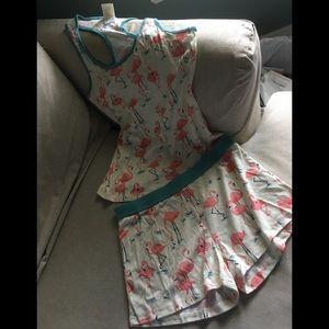 Munki Munki Flamingo print shorts pj set--NWOT-SM